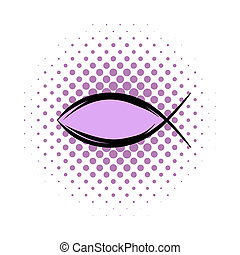 Jesus fish symbol comics icon isolated on a white background