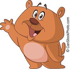 Happy bear waving hello
