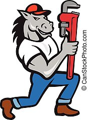 Horse Plumber Kneeling Monkey Wrench Cartoon - Illustration...