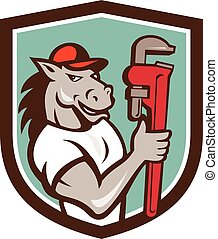 Horse Plumber Monkey Wrench Crest Cartoon - Illustration of...