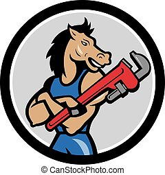 Horse Plumber Monkey Wrench Circle Cartoon - Illustration of...