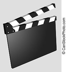 Film - Clapboard Empty isolated - 3D black and white...