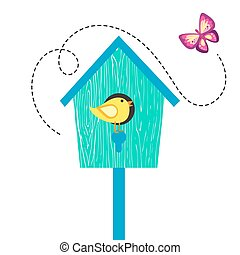 Blue cartoon bird house with birdie on perch and butterfly....