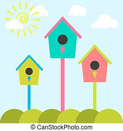 Nesting box cartoon set Meadow with colorful bird houses...