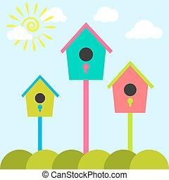 Nesting box cartoon set Meadow with colorful bird houses...