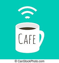Wifi cafe vector illustration. A cup of coffee and wi fi...