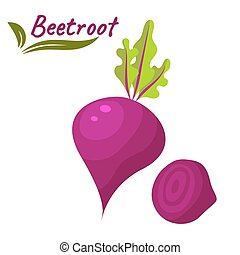 Beetroot vegetable vector illustration Beet root with leaves...