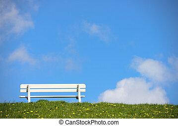 empty bench on green dike - empty bench on dike near...