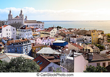 View of Alfama from Castle in Lisbon, Portugal