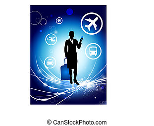 businesswoman on Abstract Modern Light Background
