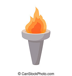 Burning torch cartoon icon on a white background