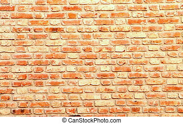 wall of fire-bricks - old wall of many of red bricks