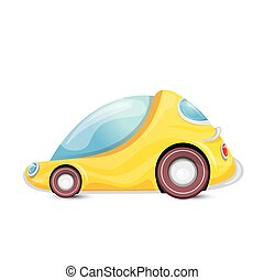 vector cartoon orangecar isolated on white