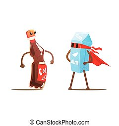 Coke Against Milk Cartoon Fight Flat Vector Funny...