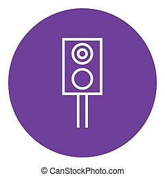 Railway traffic light line icon. - Railway traffic light...