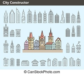 Collection of building icons - Cityscape constructor...