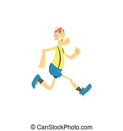 Old Man Jogging Cute Cartoon Style Isolated Flat Vector...