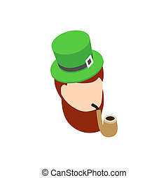 Leprechaun with green hat smoking pipe icon