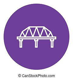 Rail way bridge line icon - Rail way bridge thick line icon...