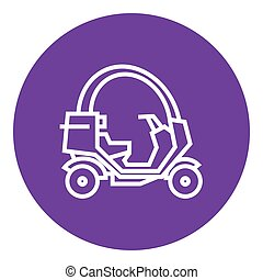Rickshaw line icon - Rickshaw thick line icon with pointed...