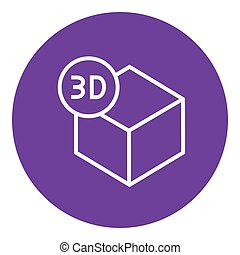 Three D box line icon - Three D box thick line icon with...