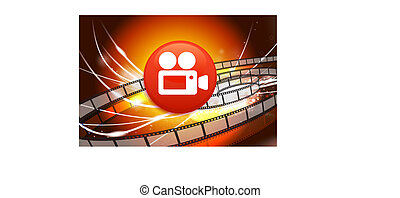 Film Camera Button on Abstract Modern Light Background...