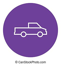Pick up truck line icon - Pick up truck thick line icon with...