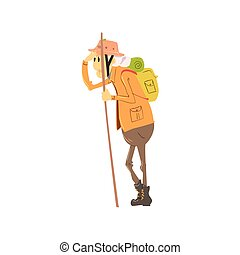 Old Lady Hiking Cute Cartoon Style Isolated Flat Vector...