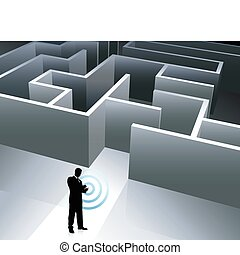 Businessman internet background with maze - Original Vector...