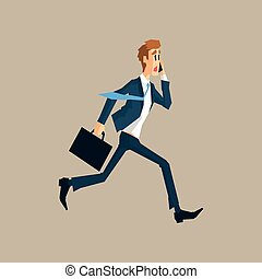 Office Worker Running Late Primitive Geometric Cartoon Style...