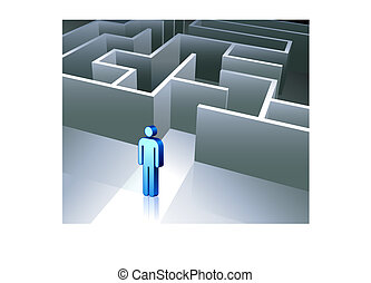 Business gender figure on maze background - Original Vector...