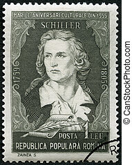 ROMANIA - 1955: shows Friedrich von Schiller 1759-1805,...