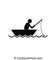 Fisherman in a boat icon - Fisherman in a boat black simple...