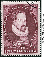 ROMANIA - 1955: shows Miguel de Cervantes Saavedra...