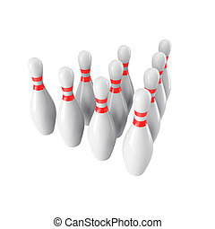 Group of Bowling Pins Isolated on White Background. 3D rendering