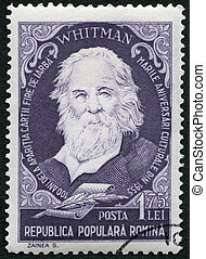 ROMANIA - 1955: shows Walter Walt Whitman 1819-1892,...