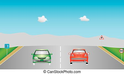Cars on highway - Cars on highway. Autobahn road, signs,...