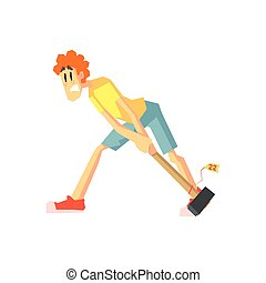 Woman Dragging A Hammer Flat Isolated Vector Illustration in...
