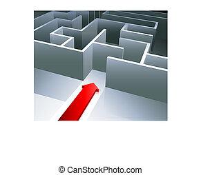 Red arrow begins to enter inside a maze - Original Vector...