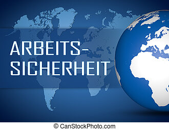 Arbeitssicherheit - german word for work safety concept with...