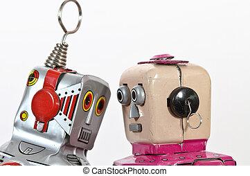 retro, robot, Giocattolo