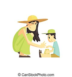 Mother And Son In Sandbox Flat Vector Simplified Childish...