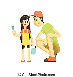 Father And Daughter In Sandbox Flat Vector Simplified...