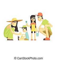 Family Of Four In Sandbox Flat Vector Simplified Childish...