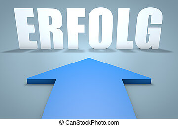 Erfolg - german word for success - 3d render concept of blue...