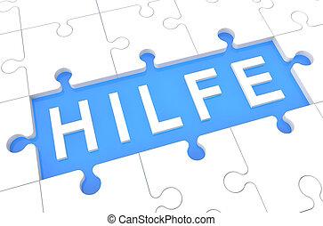 Hilfe - german word for help - puzzle 3d render illustration...