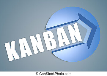 Kanban - text 3d render illustration concept with a arrow in...