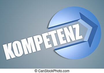Kompetenz - german word for competence - text 3d render...