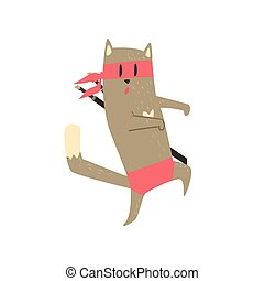Samurai Cat Sneaking Flat Geometrical Design Cool Vector...