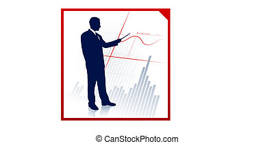 Business man on background with financial equation